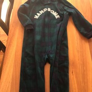 Children's Place 3T fleece plaid footie pajamas